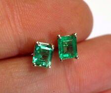 Vivid  + Lustrous | .74CT Colombian Emerald 14K Yellow Gold Stud Earrings