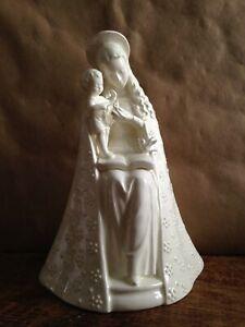 Vintage MJ Hummel Goebel Flower Madonna and Child White Glaze 10/1