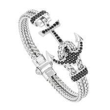 Handmade Mens Anil Arjandas Anchor Bangle Braided Wire Stainless Steel Bracelet