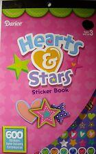 NEW 600 pc HEARTS & STARS STICKER BOOK Heart Star Designs Dots  Sticker DARICE