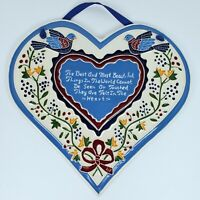 Vintage J Duban Ceramic Heart Helen Keller Birds Floral Wall Tile Art USA Made