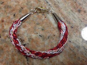 """HandCrafted Bracelet, med. size 7 3/4"""" Valentine colors"""