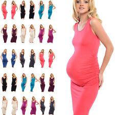 Purpless Sleeveless Jersey Ruched Pregnancy Maternity Midi Dress Dresses D8130