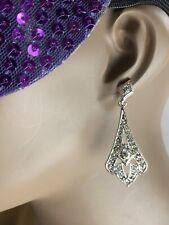 Roman Silver Tone Crystal Dangle Earrings