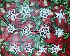 "Handmade Thread Crochet Snowflakes Small 2""-2.25"" White Lot of 12 Ornament Gifts"