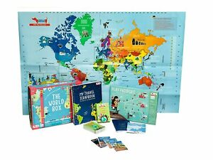 GeographyGame- World Map,PlayPassport,CountryTrumpCards &Travel Scrapbook Forkid