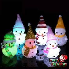 Mini LED Snowman Light Up Chrismas Ornament Small Light Xmas Tree Hanging Decors