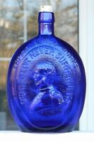 Cobalt Blue Embossed Empire Glass Works Bottle General Taylor Never Surrenders