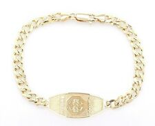 "14k Yellow Gold Medical Alert ID Bracelet Cuban Link Chain 8.75"" 13.7mm 14g"