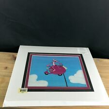 THE PINK PANTHER MATTED ANIMATION CEL+SKETCH+COA EPISODE PINKY RIDER flying p52