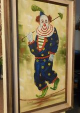 Vintage oil on Canvas Painting of Colorful Happy Clown with Umbrella by Vincent