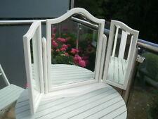 WHITE TRIPLE SWIVEL DRESSING TABLE MIRROR BEVELED EDGE GLASS