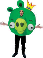 Mens Adult Funny Angry Birds Game App Deluxe Green King Pig Bird Costume