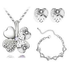 Bridal Jewellery Set White Heart 4 Leaf Clover Earrings Necklace & Bracelet S239