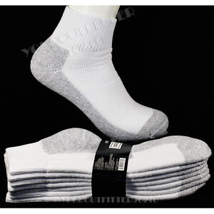 9-11 10-13  Men's Athletic Heavy Weight Cotton Ankle Socks  Bottom Gray  4 Pack