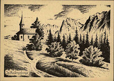Kaisergebirge Österreich Tirol um 1950 alte Künstlerkarte Kapelle Kirche Alpen