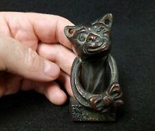 Antique Bronze Winking Comical Cat Door Knocker