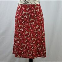 Old Navy Aline Skirt Red Floral Midi Women's SIze 10