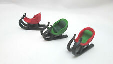 "3 Miniature 1 1/4"" Plastic Christmas Decor Sleigh - Red & Green"