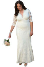 New Stunning White Floral Lace Plus Size Party Gown Maxi Dress 18