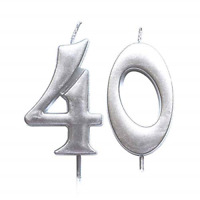 MAGJUCHE Silver 40th Birthday Numeral Candle, Number 40 Cake Topper Candles for