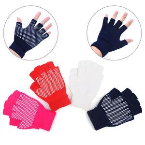 1Pair Cotton Breathe Non slip Half Finger Gym Training Gloves Fitness Yoga N&BI