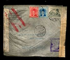 EGYPT 1940 WWII CENSORED COVER CENSOR LABELS + RUBBER RED CANCELLED TO USA