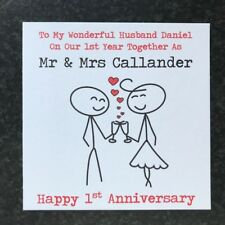 Handmade Personalised First 1st Year Wedding Anniversary Card - Husband - Wife