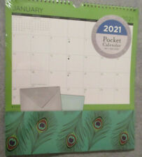 2021 WALL LARGE 12X13 SPIRAL POCKET Monthly CALENDAR BIRD Feathers Appointments