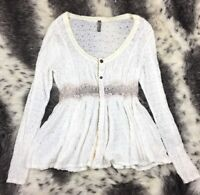 Free People Blouse Snap Front Lace Boho Hippie Women's Size Small