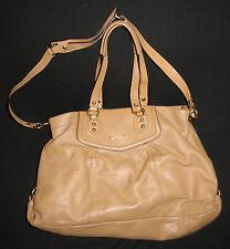 COACH Tan Leather Large Pleated Satchel Shoulder Bag