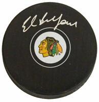 ED BELFOUR Signed Chicago Blackhawks Logo Hockey Puck - SCHWARTZ