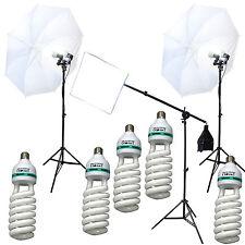 Deluxe Studio Lighting Kit 5x 105w 5500K Cfl 2xUmbrellas Stand, Boom 2000w Total