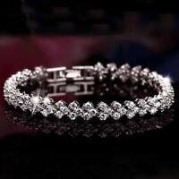 Women Roman Chain Clear Zircon Crystal Bangle Rhinestone Bracelet Fashion Gift