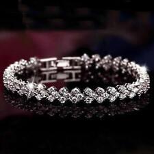 Bangle Rhinestone Bracelet Fashion Gift Women Roman Chain Clear Zircon Crystal