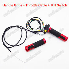 Red Handle Grips Kill Switch Throttle Cable 2 Stroke 50cc-80cc Motorized Bicycle