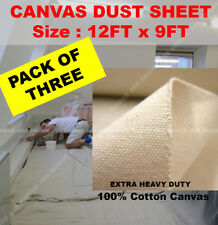 Cotton Canvas Heavy Duty Professional Quality Dust Sheet 12 x 9 pack of 3