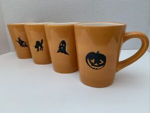 """Set Of 4 Halloween Mugs by Williams Sonoma MUG 4"""" H Witch, Cat, Ghost, Pumpkin"""