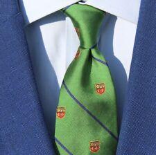 Polo Ralph Lauren Boy's Green & Blue Striped Crested Woven Silk Necktie - Italy