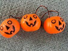 Vintage Halloween String Light Set 1950's 3 Pumpkin Jol Plastic Blowmold Rare!
