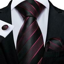 USA Black Red Stripped Classic Silk Tie Set Mens Necktie Hanky Cufflinks Party