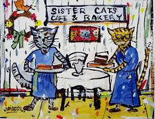 "Townsend TN  ""SISTER CATS SERVING TEA"" fun Folk Art print by Mike Creech 8X10"