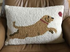 """LL Bean YELLOW LAB with Red BALL Hooked Rug PILLOW 20""""x12"""""""