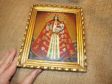 VINTAGE  FOLK ART SOUTH AMERICAN ICON PAINTING ON METAL WITH GILT FRAME