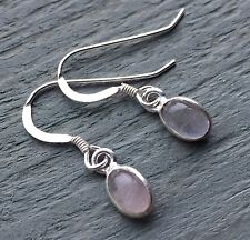 6x4mm AA Rose Quartz 925 Sterling Silver Hooks Earrings LOVE CALMING vibrations