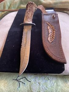 Bowie Knife Damascus Stag Crown Leather Sheath
