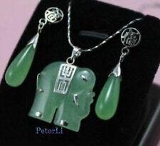 Exquisite green jade elephant Jewellery necklace Pendant earring Set
