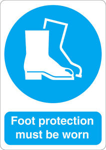 Foot protection must be worn mandatory safety sign sticker A5 size