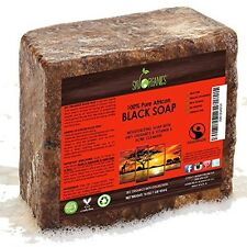 Organic African Black Soap (454g Block) - Raw Organic Soap Ideal For Acne, Dry