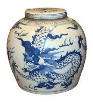 """Vintage Style Blue and White Porcelain Lidded Ginger Jar Dragon Motif 9"""""""